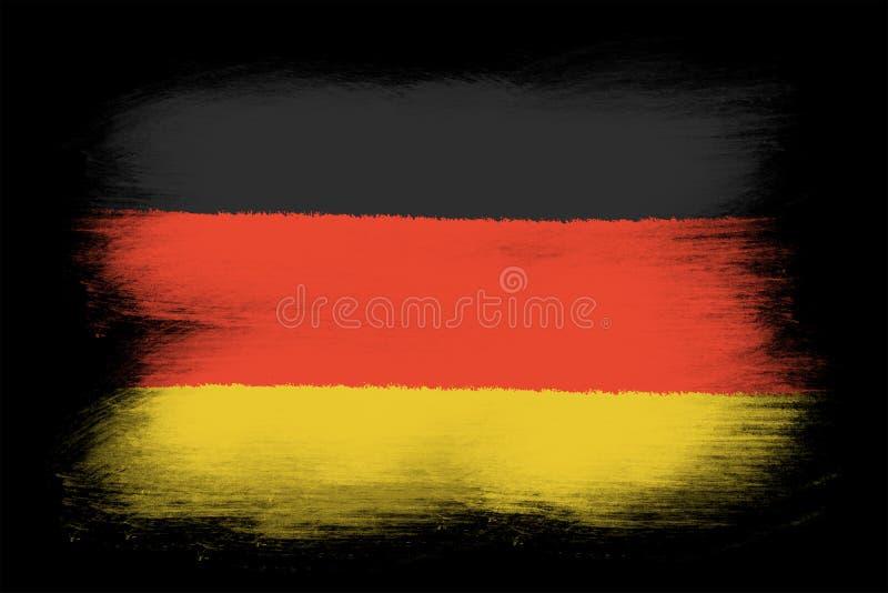 The German flag. Painted grunge flag, brush strokes. Isolated on black background vector illustration