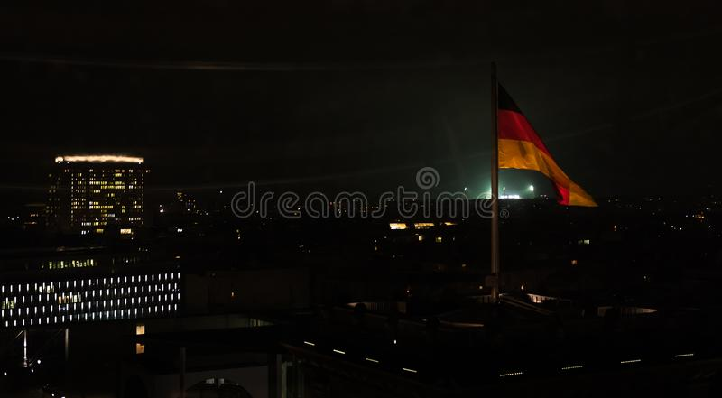 German Flag on Reichstag, Berlin, night view royalty free stock photos