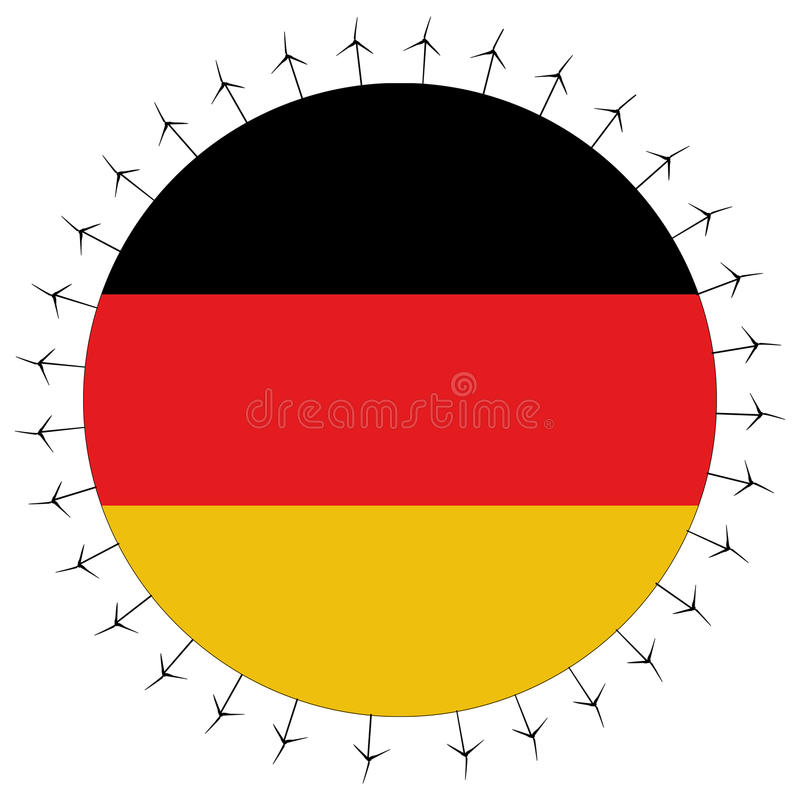 Download German Flag With Wind Turbines Stock Vector - Illustration: 11702125