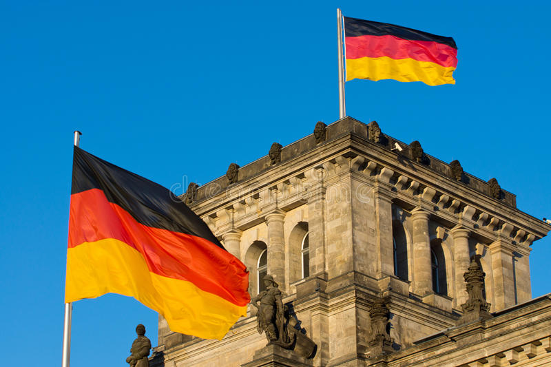 Download German Flags At The Reichstag Stock Photo - Image: 24494510