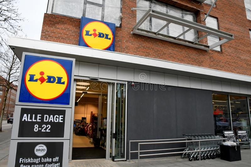 GERMAN FOOD CHAIN LIDL GROCERY STORE DENMARK. Copenhagen/Denmark 14 December 2018_German food chain Lidl food makret in Copenhagen Denmark royalty free stock photos