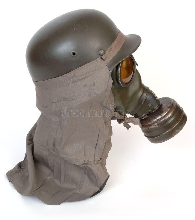 German gas mask and steel helmet stock photos