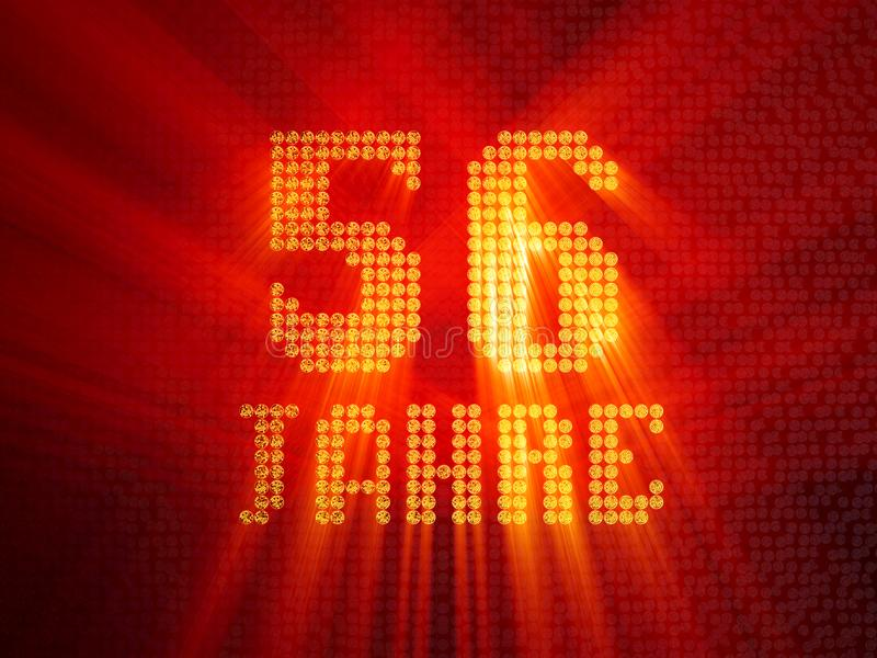 German golden number fifty-six years. 3D render royalty free illustration