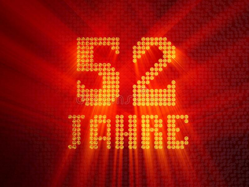 German golden number fifty-two years. 3D render royalty free illustration
