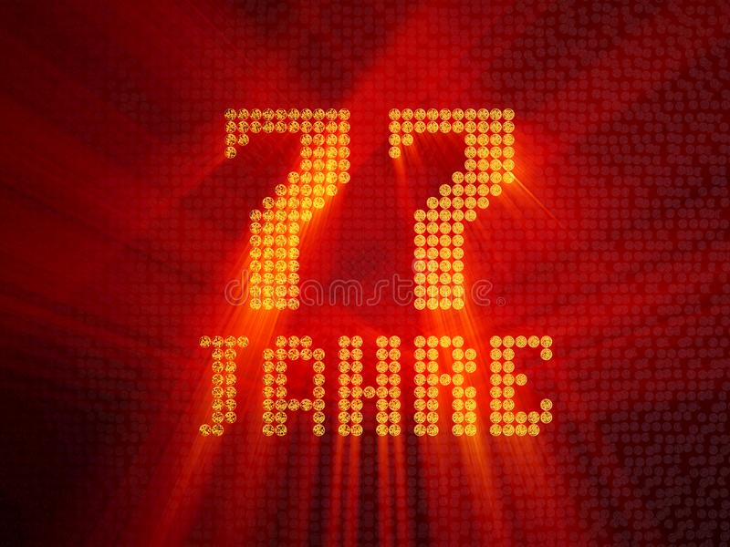 German golden number seventy-seven years. 3D render royalty free illustration