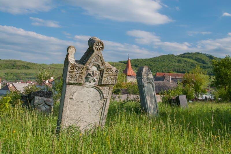 German graveyard near the saxon fortified church of Lechnitz, TRansylvania royalty free stock photo