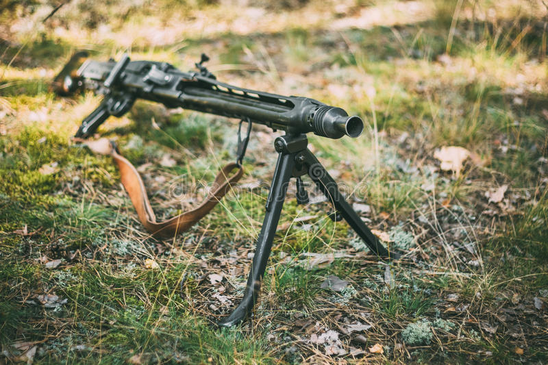 German Guns Of World War II - A MG 42 Machine-gun royalty free stock photo