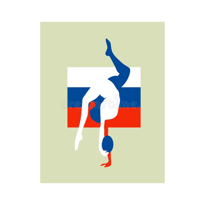 Russian gymnast athlete emblem. On the background of the German flag royalty free illustration