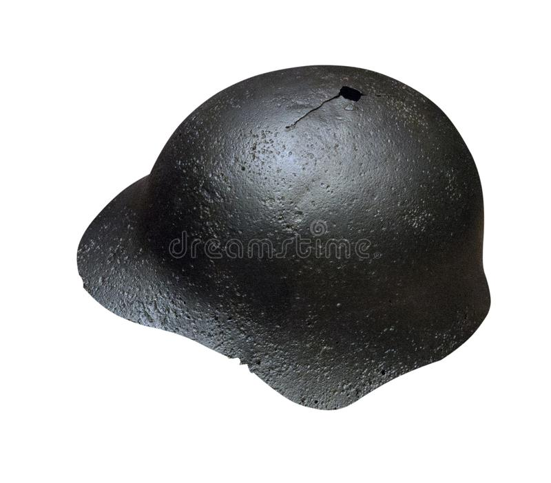German helmet isolated on white background. German helmet of the Second World Wa stock photos