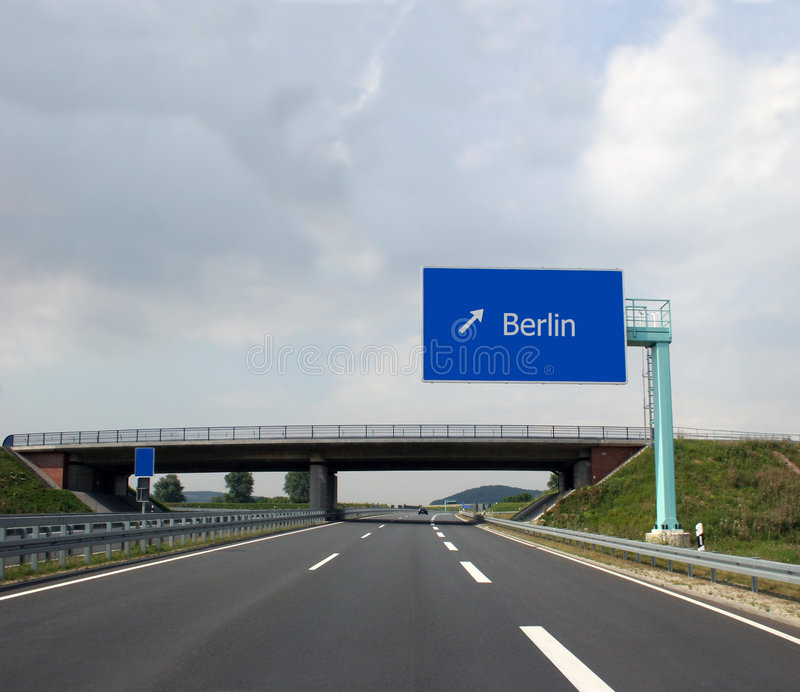 German Highway and direction sign to Berlin. German highway (Autobahn) and direction sign to the captital Berlin stock images