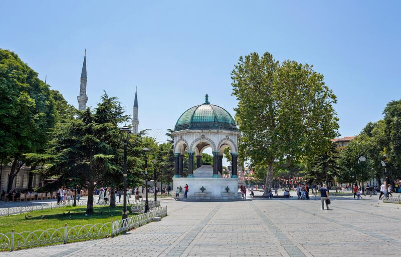 German historical fountain in the center of Istanbul on Sultanahmet Square. It is a symbol of friendship between Germany. And Turkey stock photos
