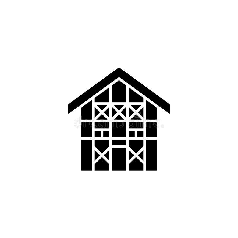 German house black icon concept. German house flat vector symbol, sign, illustration. German house black icon concept. German house flat vector website sign royalty free illustration