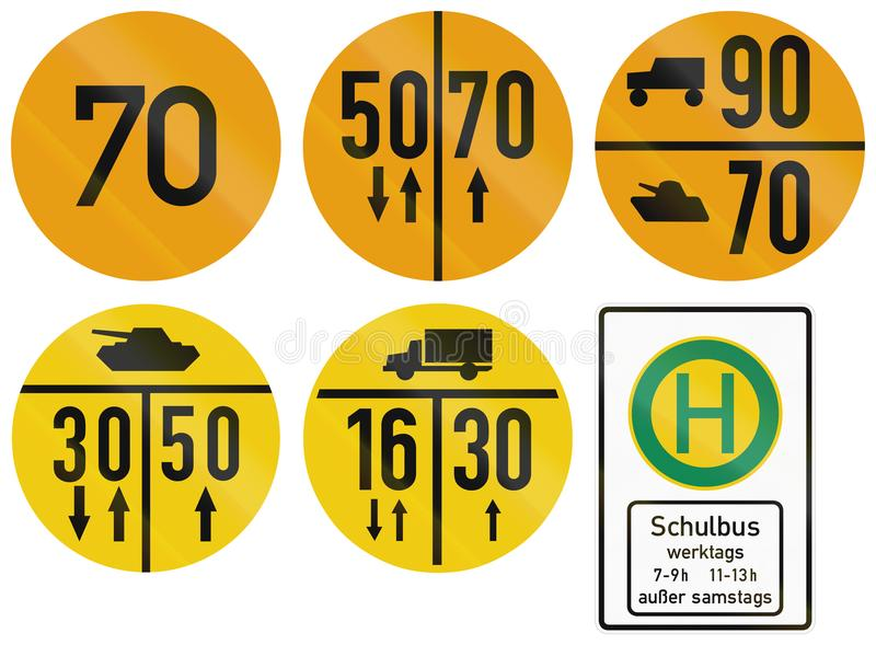 German information road sign of the Federal Ministry of Defence about military load classification restrictions.  vector illustration