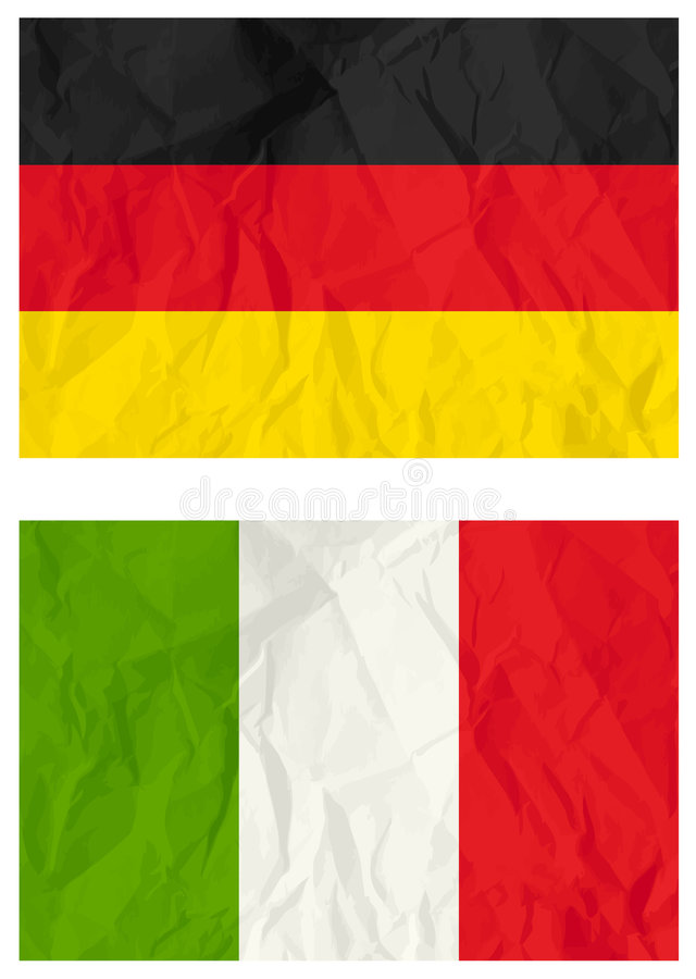 German and Italy flags, vector stock illustration