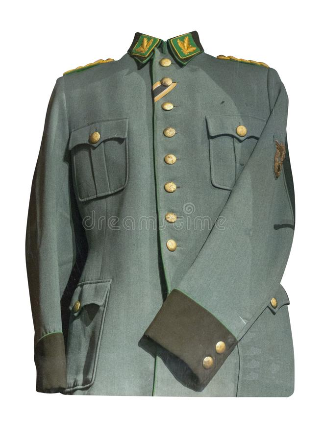 German jacket. Isolated on white background. old jacket since the Second World War royalty free stock image
