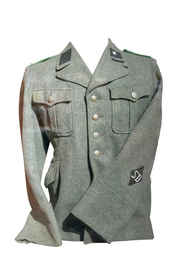 German jacket. Isolated on white background. old jacket since the Second World War stock photography
