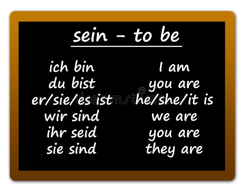 German language. Studying german language by learning the conjugation of the verb sein, to be in English vector illustration