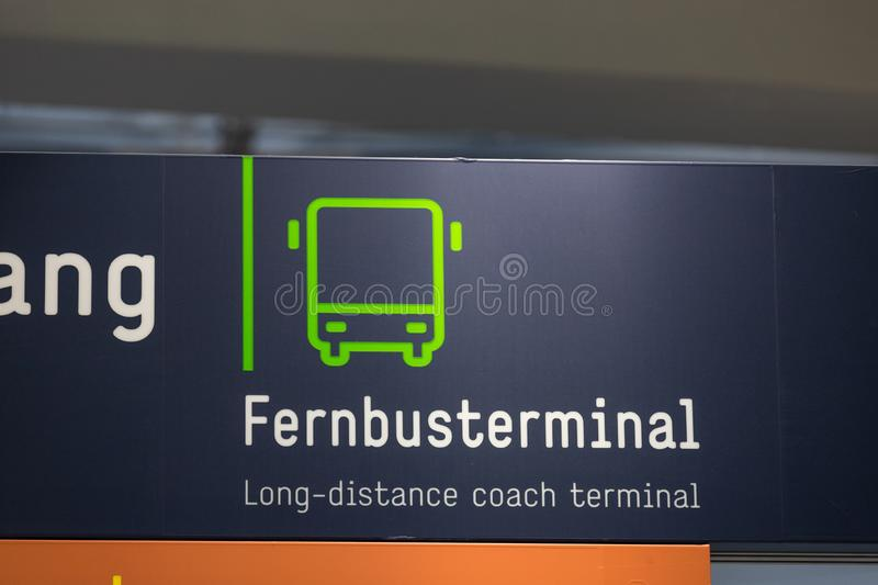 German long distance coach terminal sign near cologne germany stock images