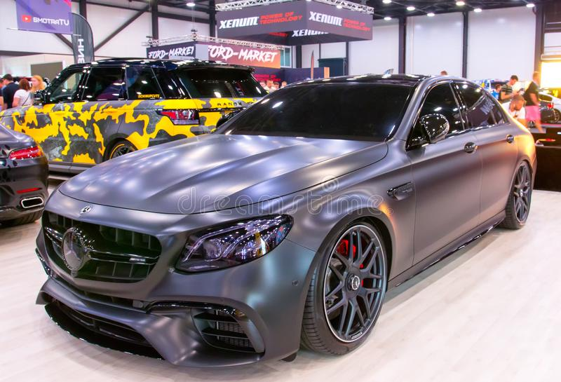 German luxury 4 doors car. Mercedes AMG  at Royal Auto Show. Jule 27, 2019. St. Petersburg, Russia royalty free stock images