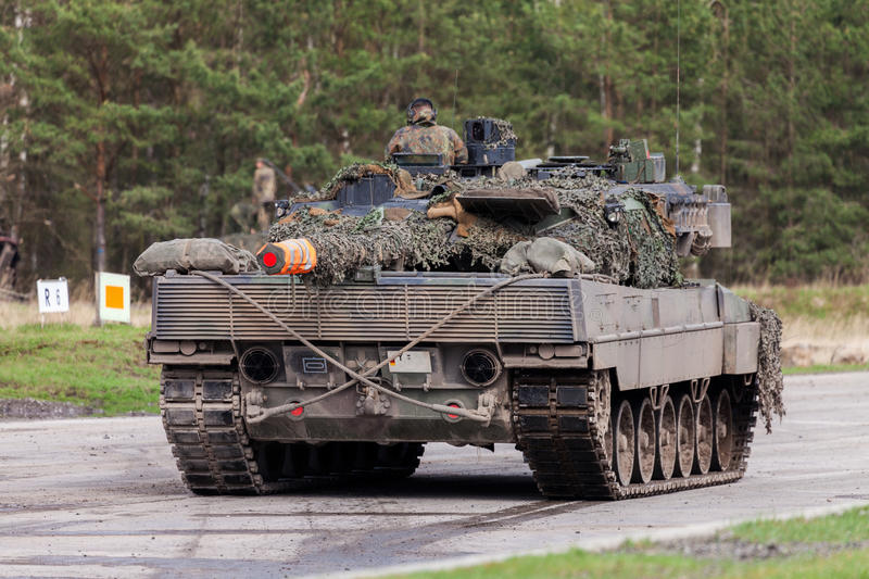 German main battle tank leopard 2 a 6 stands on the german military training ground stock photo
