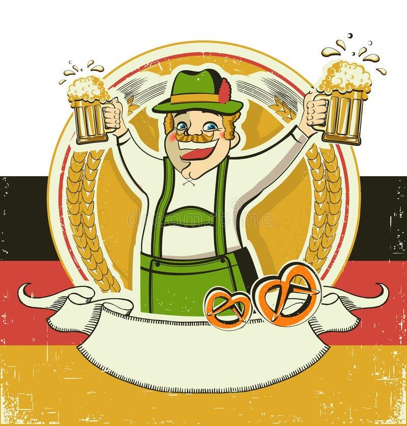 German man and beers.Vintage oktoberfest symbol o stock illustration