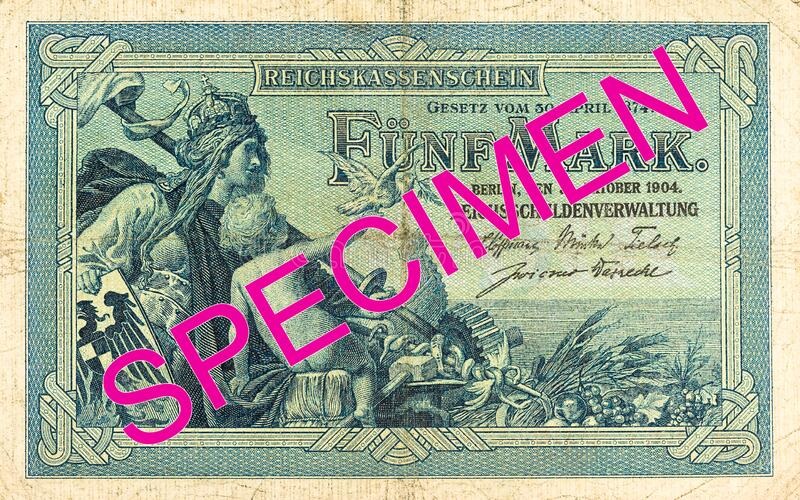 5 german mark bank note 1874 obverse royalty free stock image
