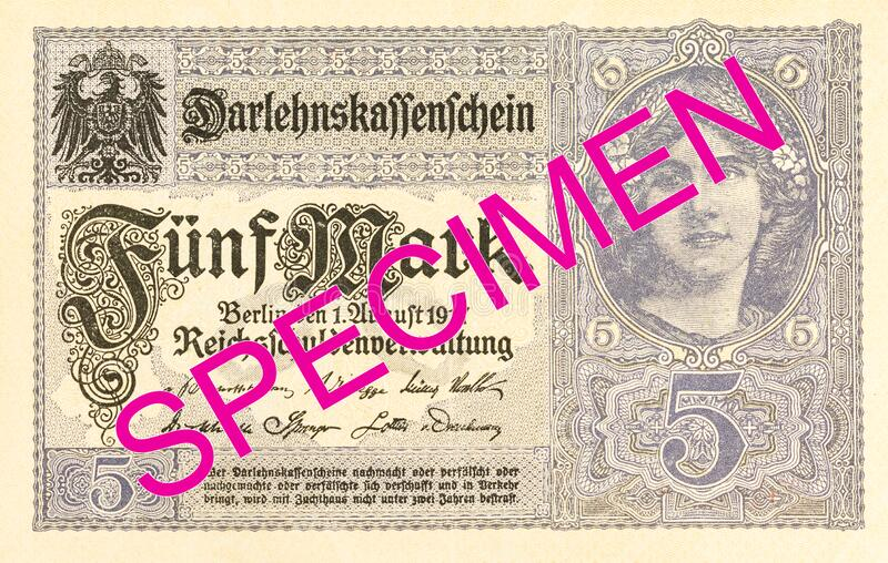 5 german mark bank note 1917 obverse royalty free stock images