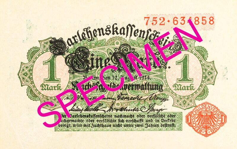 1 german mark bank note 1914 obverse royalty free stock images