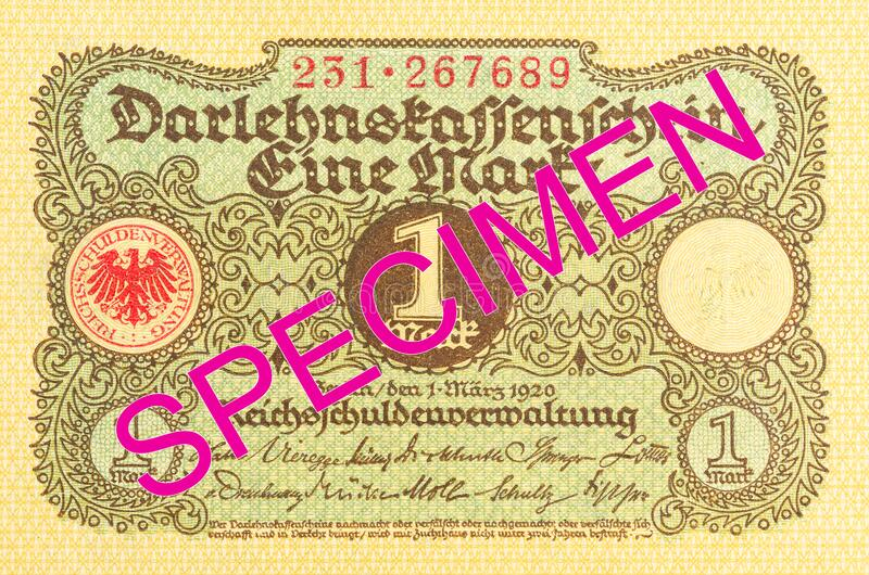 1 german mark bank note 1920 obverse royalty free stock photo