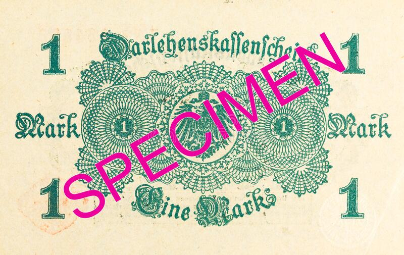 1 german mark bank note 1914 reverse stock image