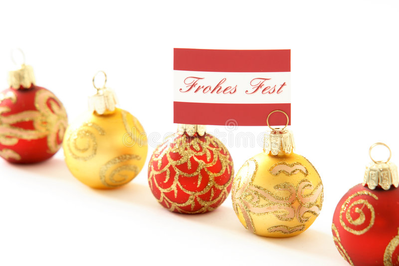 German Merry Christmas Balls Royalty Free Stock Image