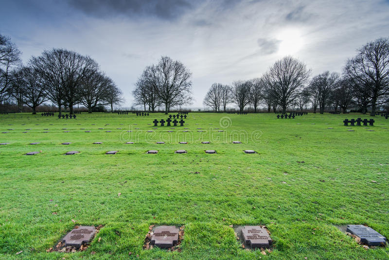 German Military Cemetery at La Cambe, Normandy, France. Fallen Soldiers Crosses at German Military Cemetery and Memorial in La Cambe, Normandy, France stock images