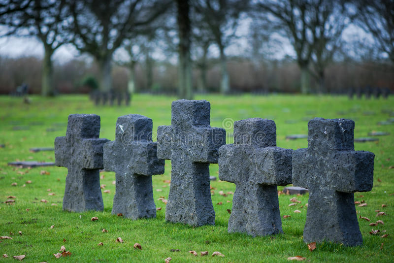 German Military Cemetery at La Cambe, Normandy, France. Fallen Soldiers Crosses at German Military Cemetery and Memorial in La Cambe, Normandy, France royalty free stock images