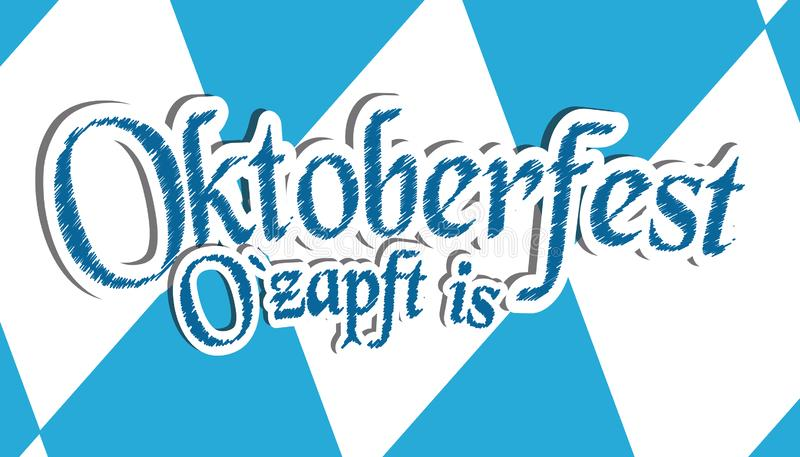 German Munich Beer Festival Oktoberfest It Is Tapped - Blue And White Vector Illustration - Diamond Shaped Background stock illustration