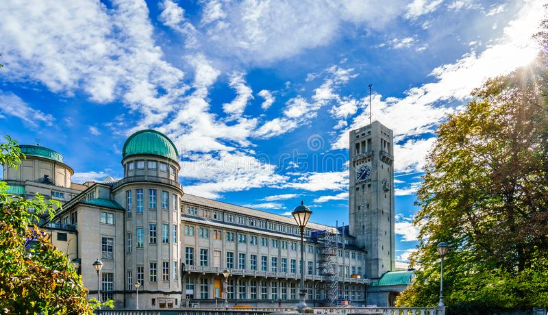 German Museum - Deutsches Museum - in Munich, Germany, the world`s largest museum of science and technology. View on German Museum - Deutsches Museum - in Munich royalty free stock image