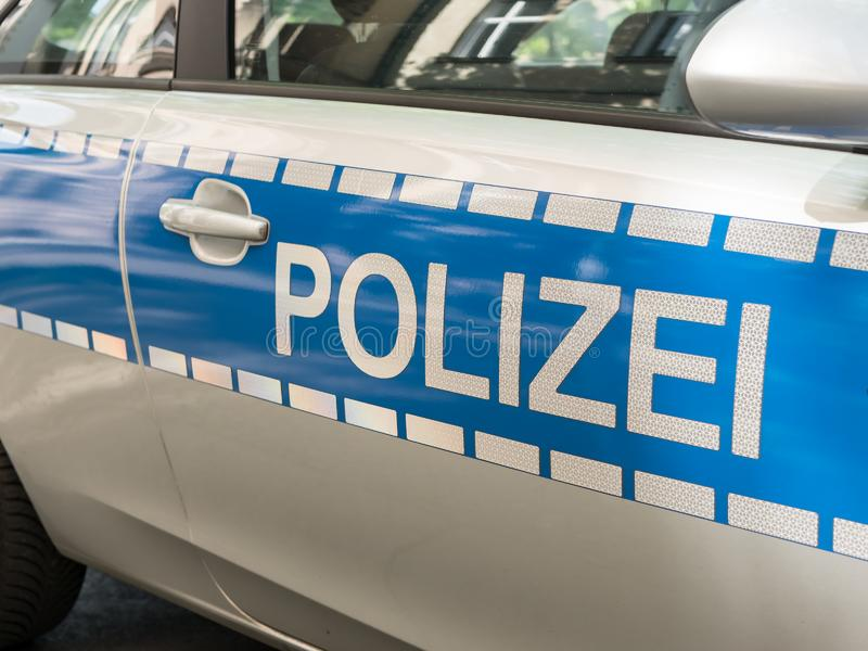 German News Concept: Blue Police Car. Selected Focus royalty free stock images