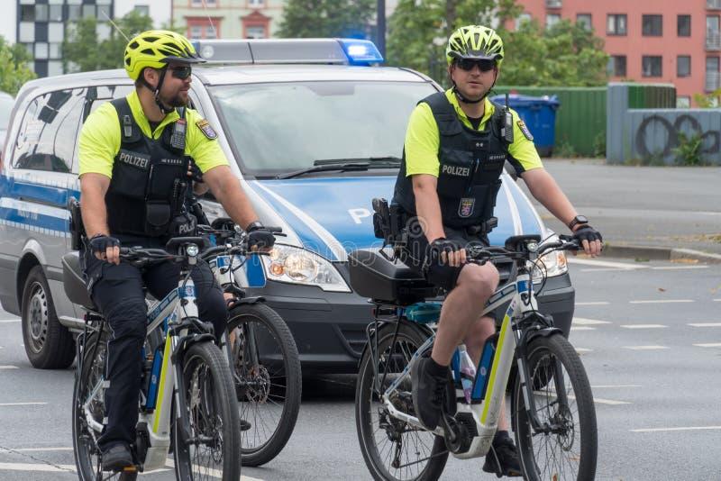 German officers on bike royalty free stock photo