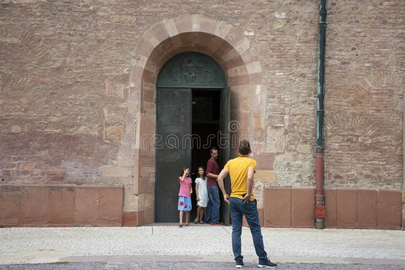 German old man and thai woman people travel and visit Speyer town. German old man and thai woman people travel and visit Speyer cathedral at Speyer town on stock photography