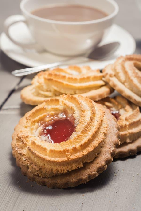 German Ox Eye cookies on a laid table
