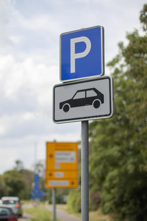 German Parking sign, only for cars royalty free stock image
