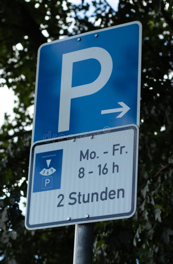 German Parking sign, limited time for two hours royalty free stock photos