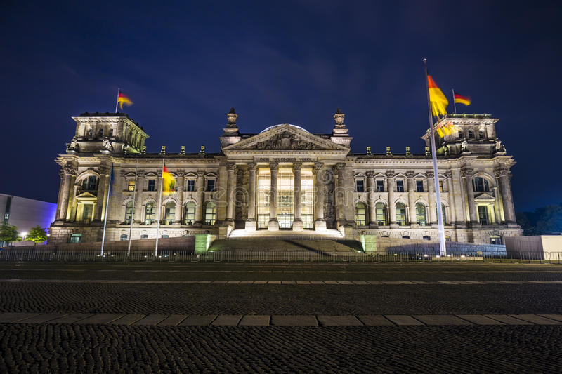 German parliament (Reichstag) building in Berlin at night royalty free stock image