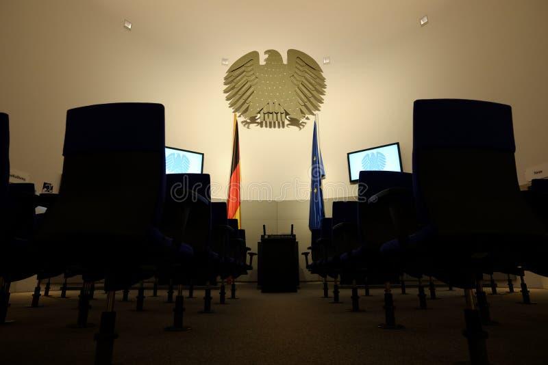 German Parliament. A replica of the inside of German parliament, taken at Neue Kirche Deutscher Dom in Berlin stock photo