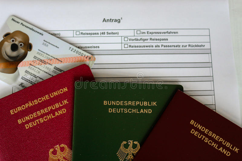 German Passport Application Form With Passports Stock Image Image