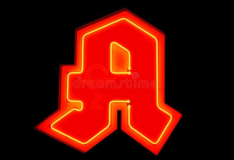 German pharmacy sign/red neon stock photos