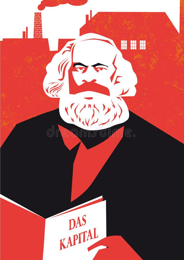 German philosopher Karl Marx illustration stock illustration