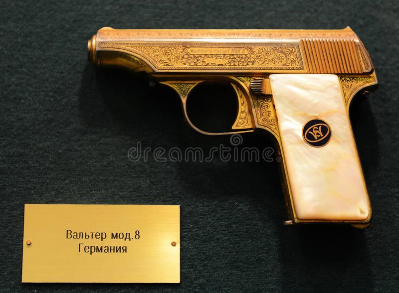 German pistol Walther Mod. 8 in the museum on Petrovka, 38, Main Department of the Ministry of Internal Affairs of Moscow. MOSCOW, RUSSIA - MARCH 25, 2016 stock images