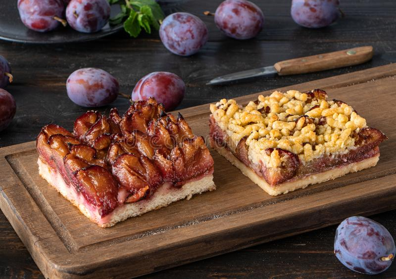 German plum cake with crumbles royalty free stock image