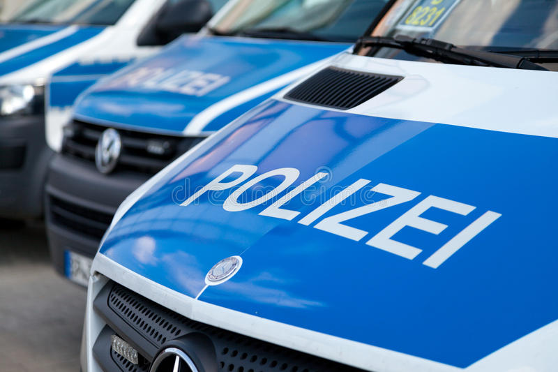 German police cars stands on airport royalty free stock images