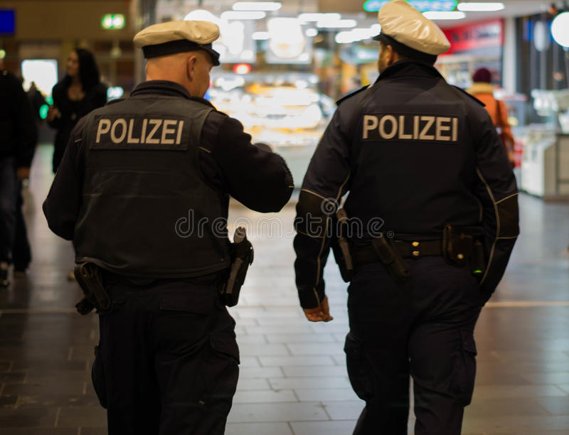 German police at night stock photos